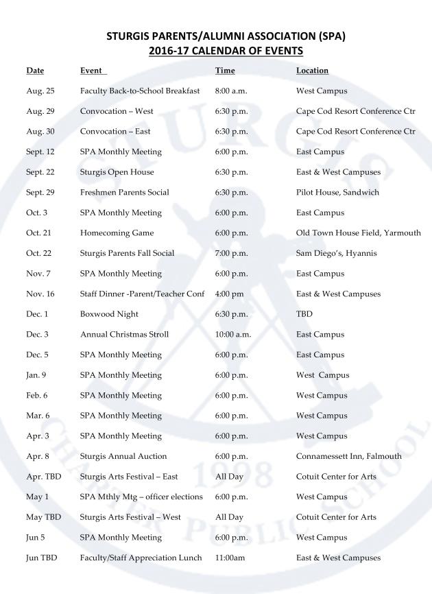 SPA 2016-2017 calendar